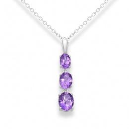 Marlene - Сребърна висулка Аметист 11811681A-Естествени камъни