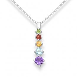 Valerie - Сребърена висулка с Аметист,Перидот,Гранат,Цитрин и Топаз 11811899-Естествени камъни