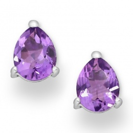 Cosima - Сребърни обеци с Аметист 11813271-Естествени камъни