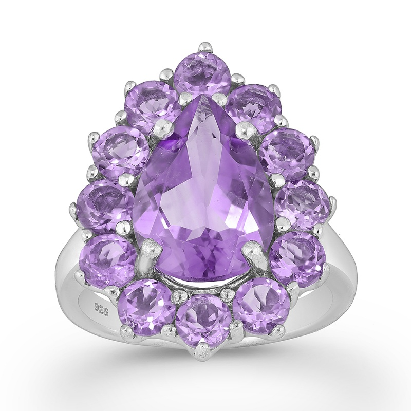 Anastaise - Сребърен пръстен с Аметист 11813480-Естествени камъни