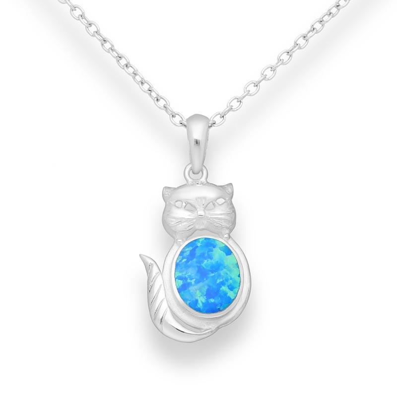 Kitten 2 - Сребърна висулка Коте със син Опал 1479676-Естествени камъни