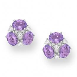 Magali - Сребърни обеци с Аметист и Циркони 888831939-Естествени камъни