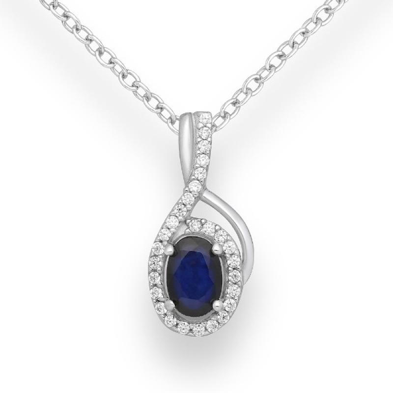 Livis - Сребърна висулка със Сапфир и Цирконий 888835404S-Естествени камъни
