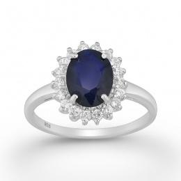 Akiko - Сребърен пръстен със Сапфир и Циркони 8836083-Естествени камъни