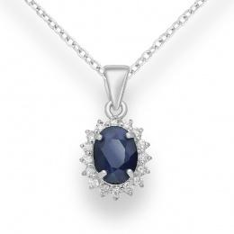 Akiko - Сребърна висулка със Сапфир и Циркони 8836084-Естествени камъни