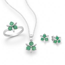 Cavasi - Сребърен комплект обеци и висулка с Изумруд 8837078-Естествени камъни