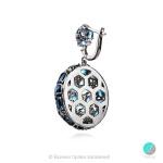 Nevina - Сребърни обеци с Лондон блу Топаз и Циркони 1134S-Естествени камъни
