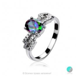 Matilda - Сребърен пръстен с Мистик топаз и Циркони s2226-Естествени камъни
