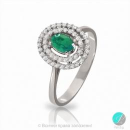 Venelina - Сребърен пръстен с Изумруд и Циркони 2190Е-Естествени камъни