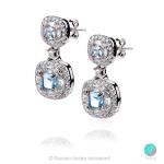 Des - Сребърни обеци със Син топаз и Циркони s4589-Естествени камъни