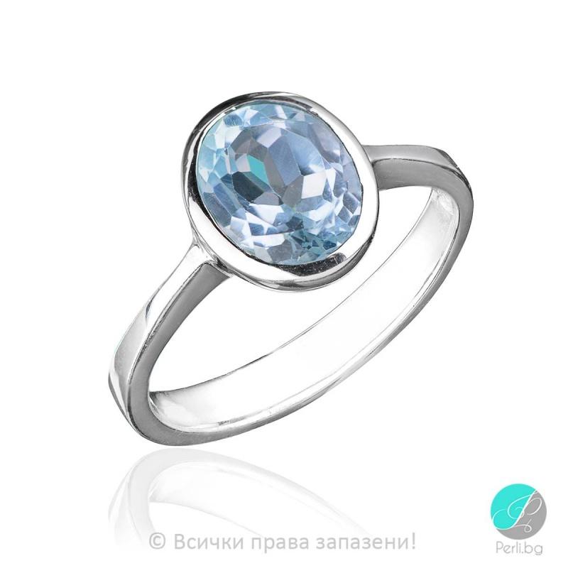 Eloise - Сребърен пръстен със Син Топаз 1588S-Естествени камъни