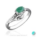 Adelle - Сребърен пръстен с Изумруд и Циркони 1597S-Естествени камъни