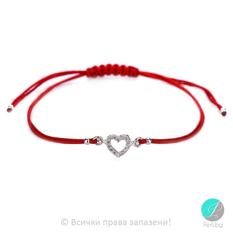 Lydie - Сребърна гривна с червен конец Сърце - Шамбала s8151-Сребърни бижута