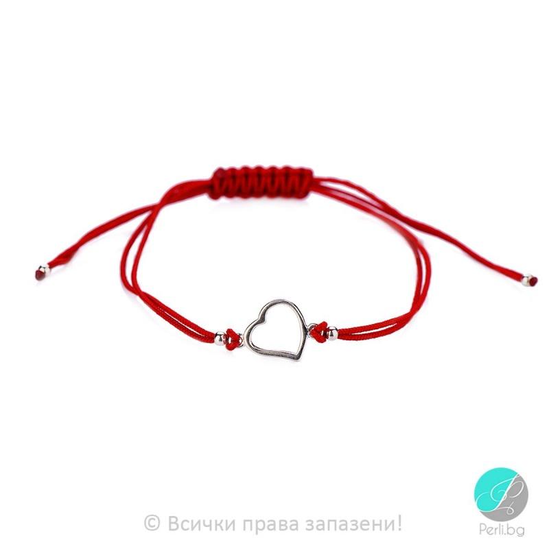 Lydie - Сребърна гривна с червен конец - Шамбала s8154-Сребърни бижута