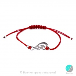 Lydie - Сребърна гривна с червен конец - Шамбала s8152