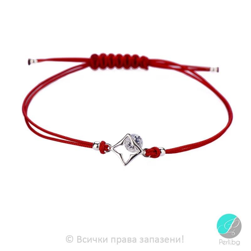 Lydie - Сребърна гривна с червен конец - Шамбала s8153-Сребърни бижута
