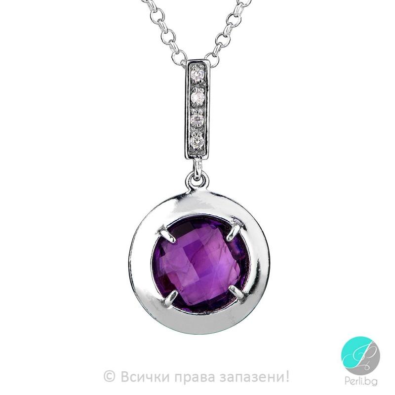 Eveline - Сребърна висулка с Аметист и Циркони 803003AM-Естествени камъни
