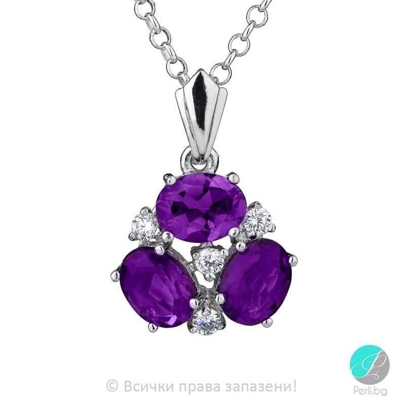 Magali - Сребърна висулка с Аметист и Циркони 888831941-Естествени камъни
