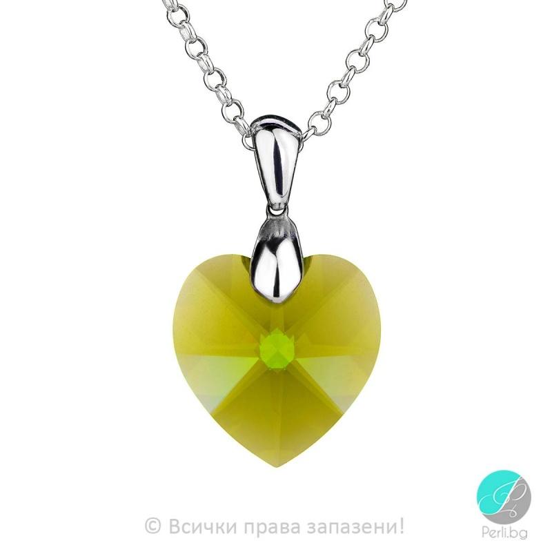 Jolie - Сребърно колие сърце с кристал Swarovski Olivin 18 мм 62024639-Кристали