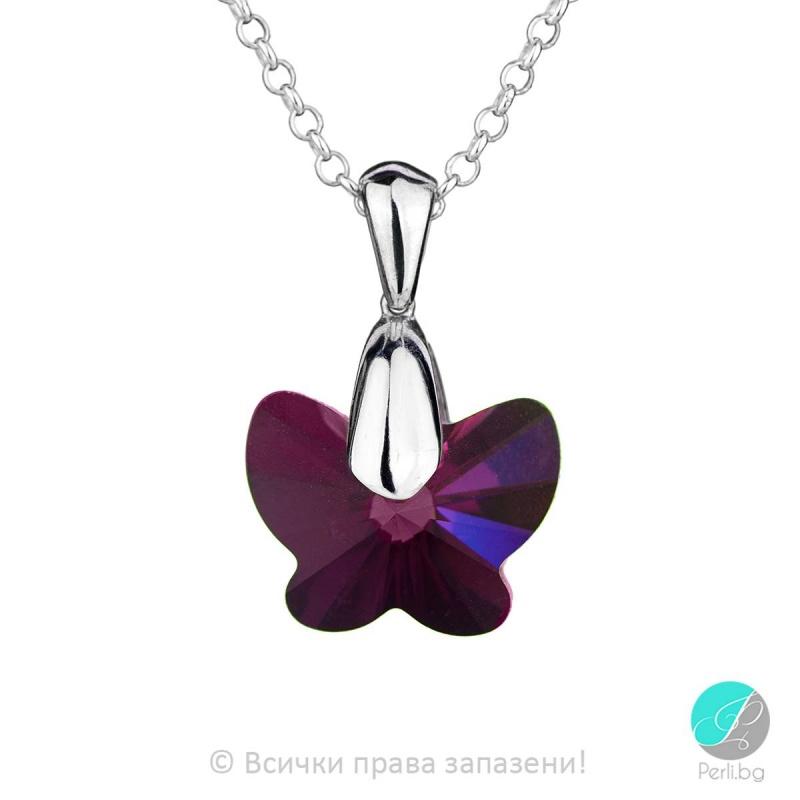 Corine - Сребърно колие пеперуда с кристал Swarovski Fuchsia 18 мм 67541138-Кристали