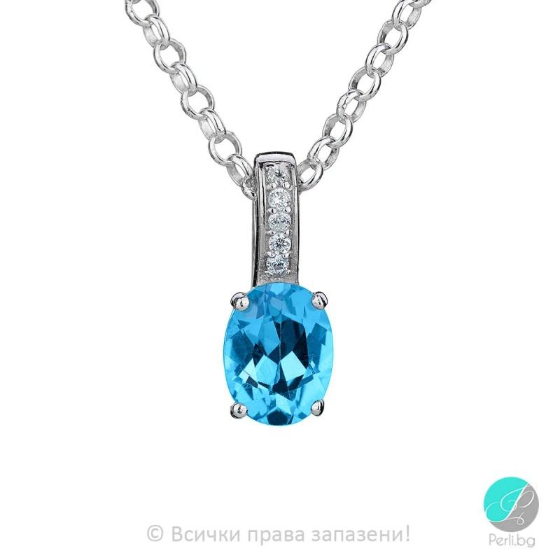 Abelle - Сребърна висулка със Swiss топаз и циркони 888832188-Естествени камъни