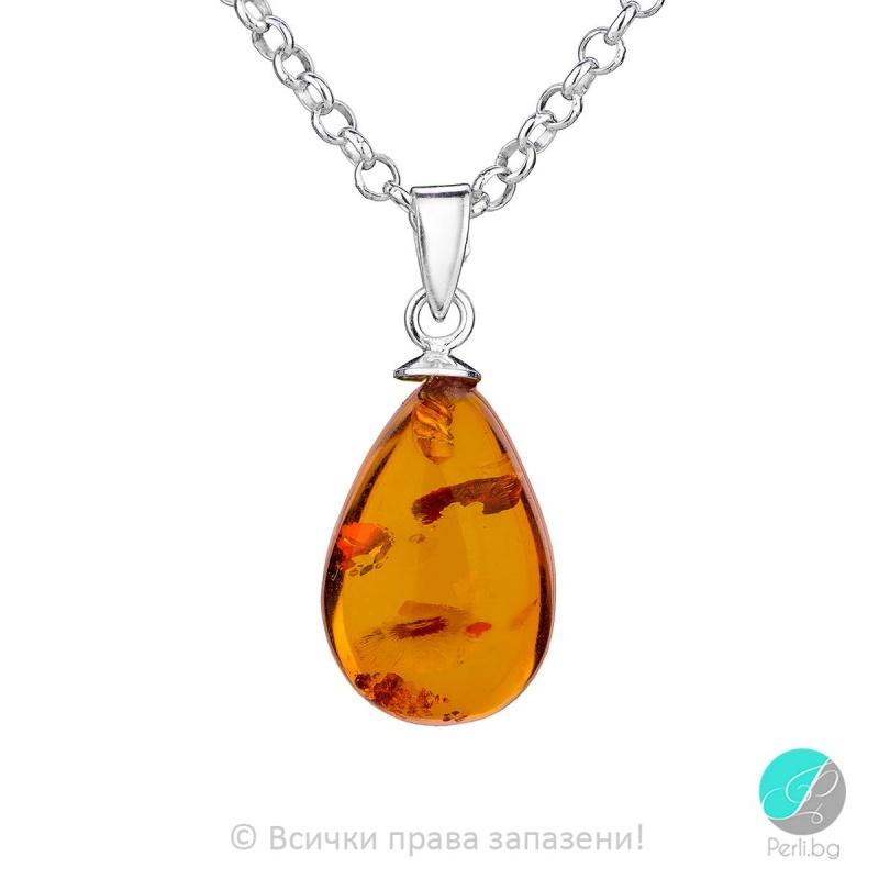 Arlette - Сребърна висулка с Кехлибар 56765366-Естествени камъни