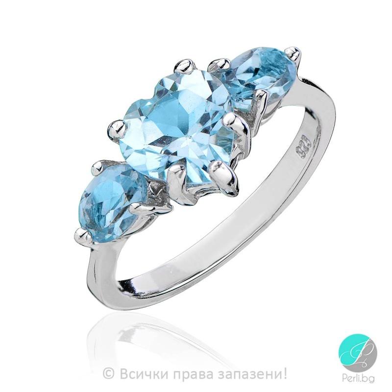 Anais - Сребърен пръстен със син Топаз 1381181322-Естествени камъни
