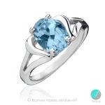 Angele - Сребърен пръстен със син Топаз 1181864T-Естествени камъни
