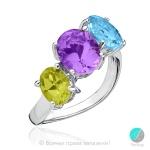 Enide - Сребърен пръстен с Перидот, Аметист и Топаз 13811811679-Естествени камъни