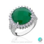 Claudine - Сребърен пръстен със зелен Ахат и циркони 1075S-Естествени камъни