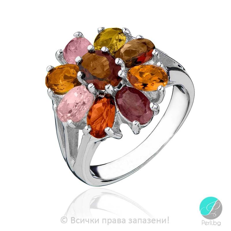 Deni - Сребърен пръстен с Турмалин 888833665-Естествени камъни