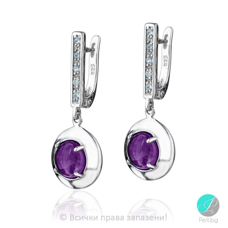 Eveline - Сребърни обеци с Аметист и Циркони 801003AM-Естествени камъни