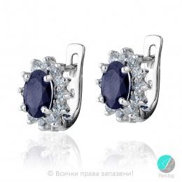 Benigna - Сребърни обеци със Сапфир и Циркони 88883185201-Естествени камъни
