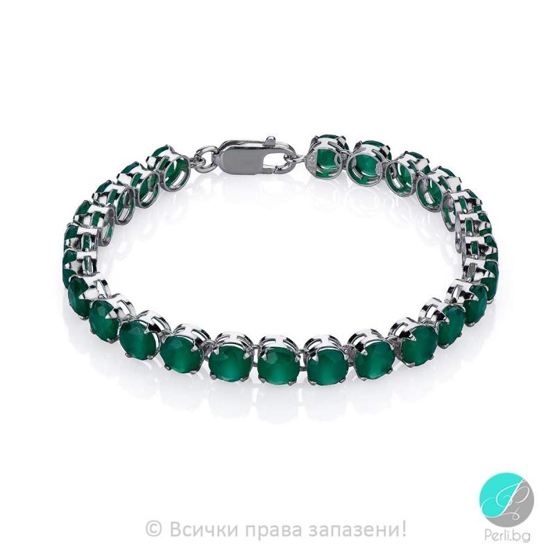 Emmanuelle - Сребърна гривна със Зелен Ахат 1566SA-Естествени камъни