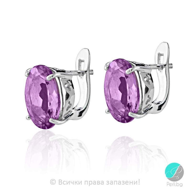 Igraine - Сребърни обеци с Аметист 888831937-Естествени камъни