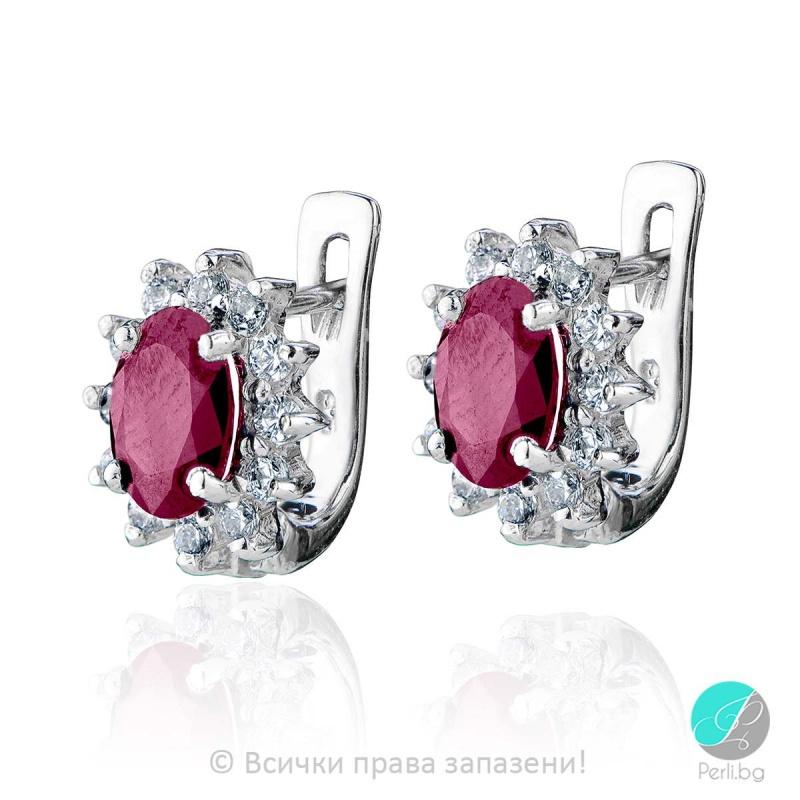 Benigna - Сребърни обеци със Рубин и Циркони 888831852-Естествени камъни