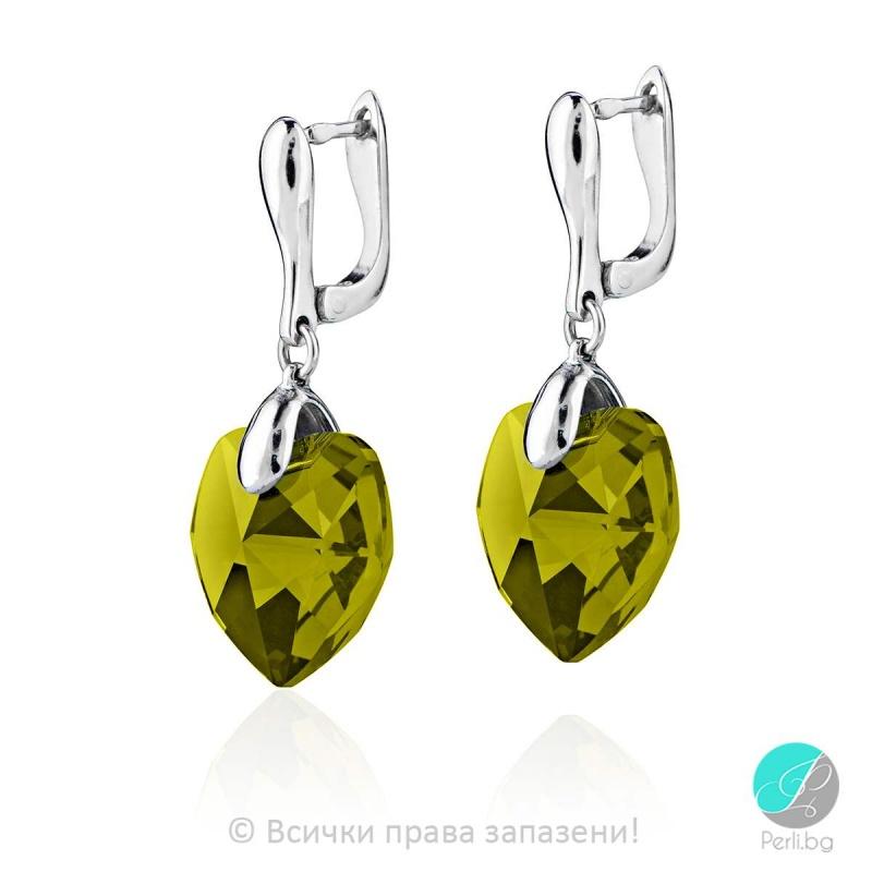 Jolie - Сребърни обеци сърце с кристал Swarovski Olivin 18 мм 62024621 -Кристали