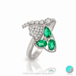 Kelia - Сребърен пръстен с Изумруд и Циркони 2191S-Естествени камъни