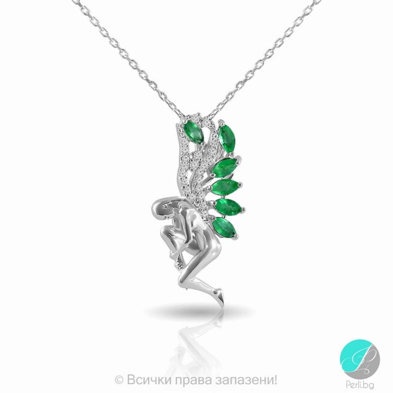 Girl - Сребърна висулка с Изумруд и Циркони 2198E-Естествени камъни