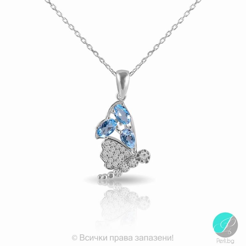 Kelia - Сребърна висулка със син Топаз и Циркони 2208BT-Естествени камъни