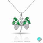 Butterfly emerald - сребърна висулка с Изумруд и Циркони 2200E-Естествени камъни