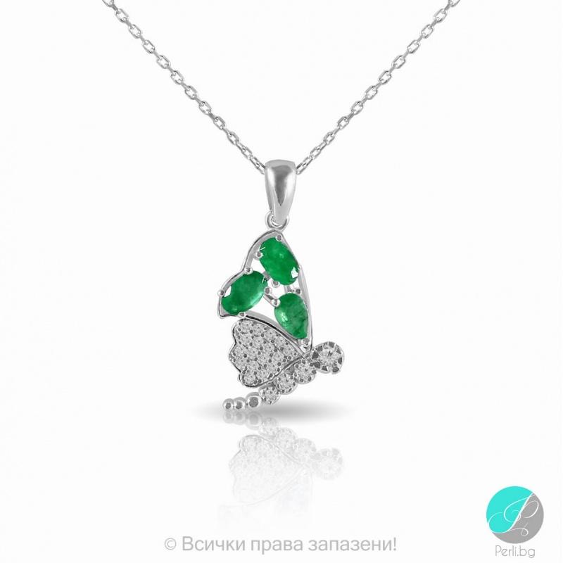 Kelia - Сребърна висулка с Изумруд и Циркони 2199E-Естествени камъни