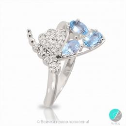 Kelia - Сребърен пръстен със син Топаз и Циркони 2206BT-Естествени камъни