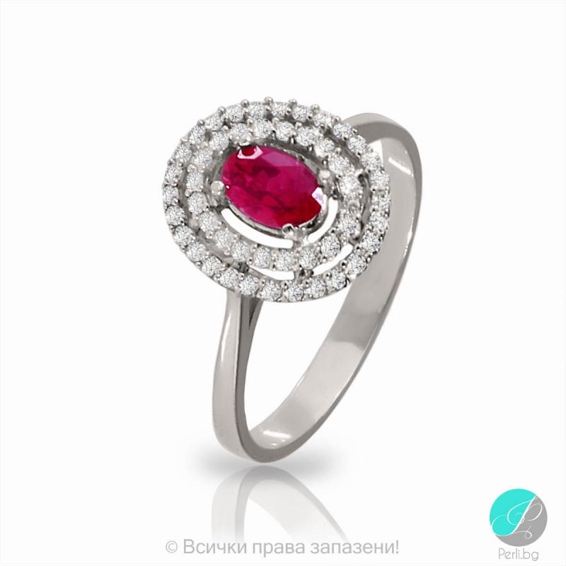 Serrena - Сребърен пръстен с Рубин и Циркони 2190S-Естествени камъни