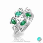 Haylie - Сребърен пръстен с Изумруд и Циркони 2192S-Естествени камъни