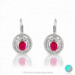 Serrena - Сребърни обеци с Рубин и Циркони 2193R-Естествени камъни