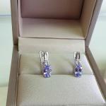 Lolo happy Tanzanit - Сребърни обеци с Танзанит 0.73 ct и Циркони E012108TZ-Естествени камъни