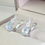 Alivia deep Aquamarine - Сребърни обеци с естествен Аквамарин 1.3 ct и Циркони E012108AQ-Естествени камъни