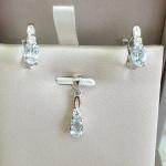 Alivia deep Aquamarine - Сребърни обеци с естествен Аквамарин 0.64 ct. E012108AQ-Естествени камъни