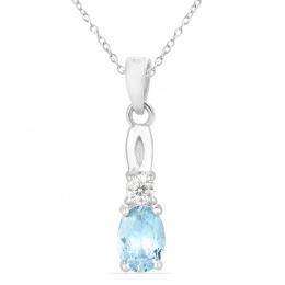 Alivia deep Aquamarine - Сребърна висулка с Аквамарин 0.62ct и Циркони P012108AQ-Естествени камъни